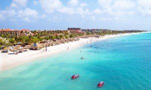 an aerial view of eagle beach aruba