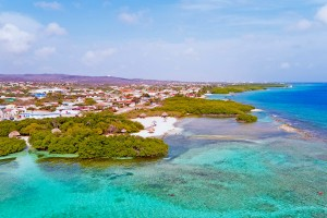 an aerial picture of mangel halto beach aruba