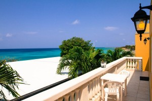 a picture of the terrace at the ocean 105 apartments near malmok beach aruba