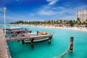 a picture of palm beach aruba looking north towards hadicurari beach
