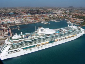 aruba port with cruise ship used for cruises to aruba