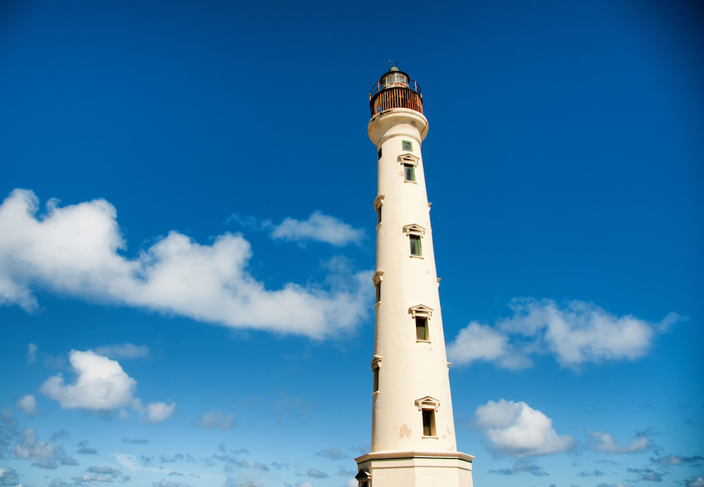 a picture of the california lighthouse in aruba