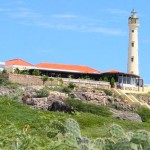 a picture of la trattoria el faro blanco at the california lighthouse in aruba