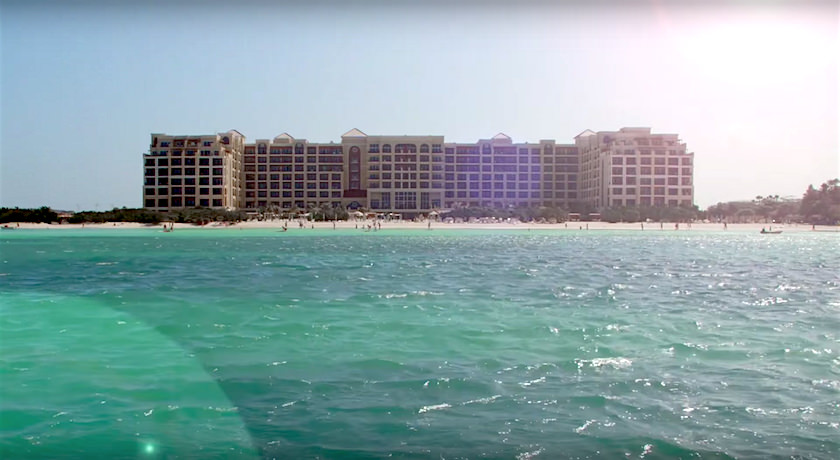 a picture of the ritz-carlton in aruba seen from the caribbean