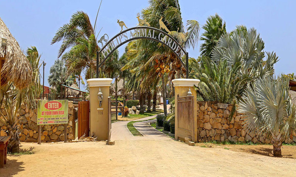 a picture of the entrance to philip's animal garden in aruba