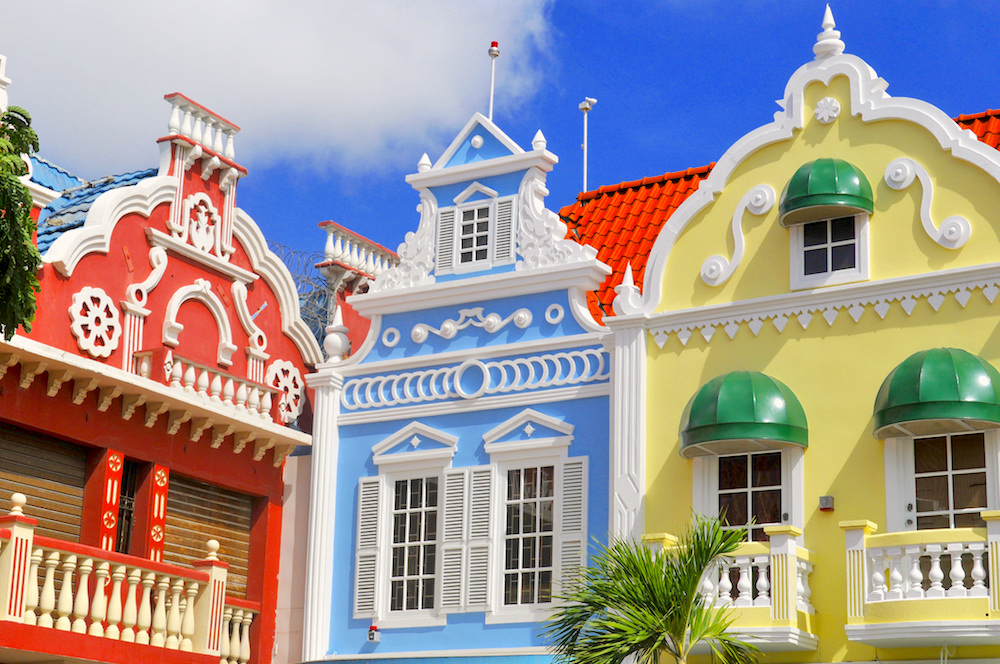 a picture of dutch architecture on oranjestad center square
