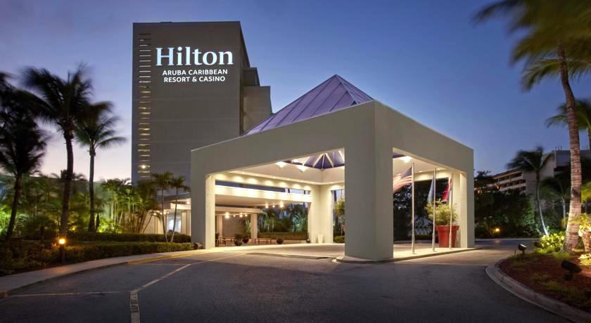 a picture of the entrance to the hilton aruba caribbean resort and casino