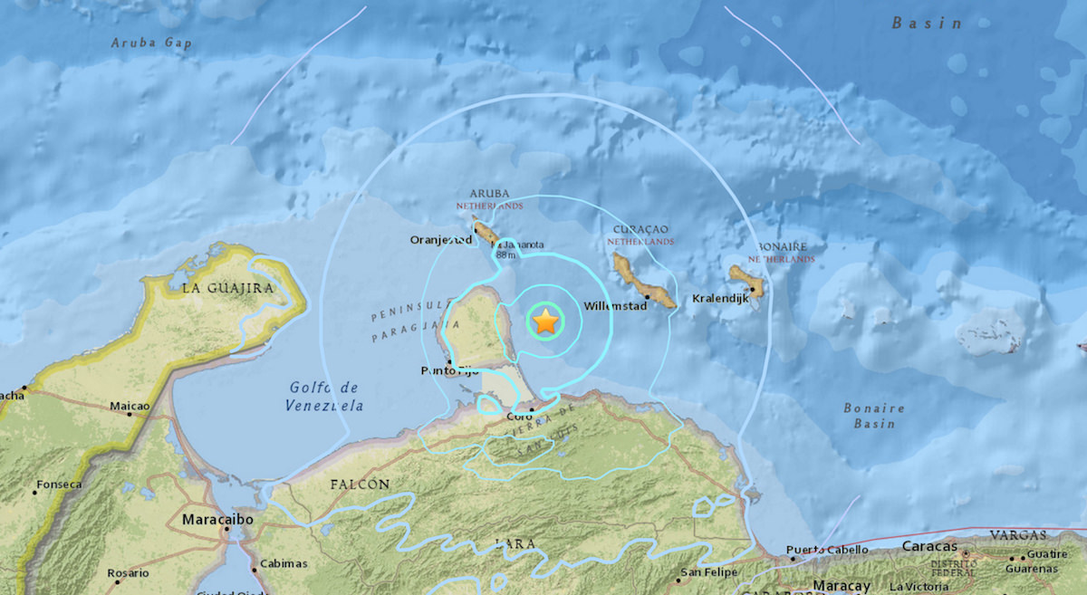 a map showing the epicenter of the earthquake in Aruba and Curacao
