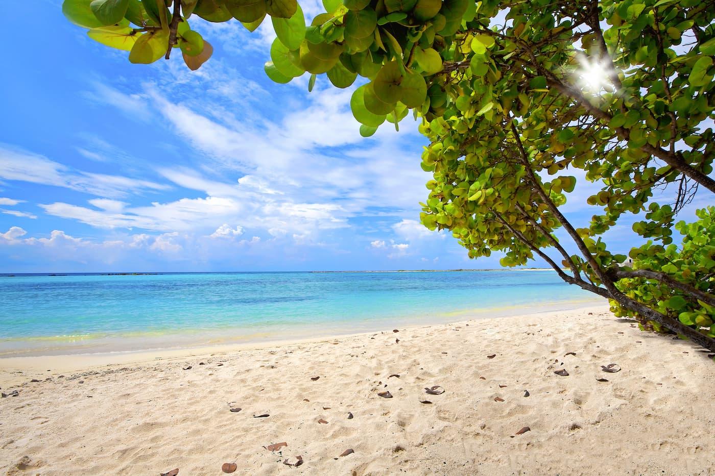 a quiet day on Baby Beach in south Aruba, Dutch Caribbean.