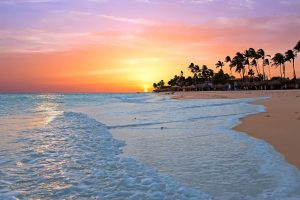 A gorgeous sunset at Druif Beach, Aruba, Dutch Caribbean.