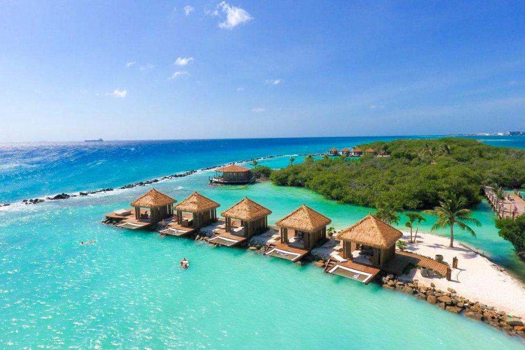 the beachfront cabanas at Flamingo Beach, owned by the Renaissance Aruba Resort, Aruba.