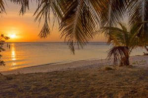 Sunset at Surfside Beach, Aruba, Dutch Caribbean.